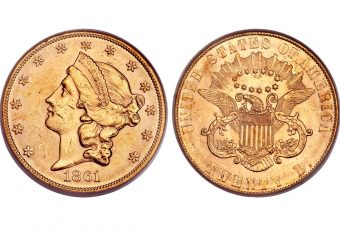 1861 Liberty Head Gold Double Eagle $20 Coin