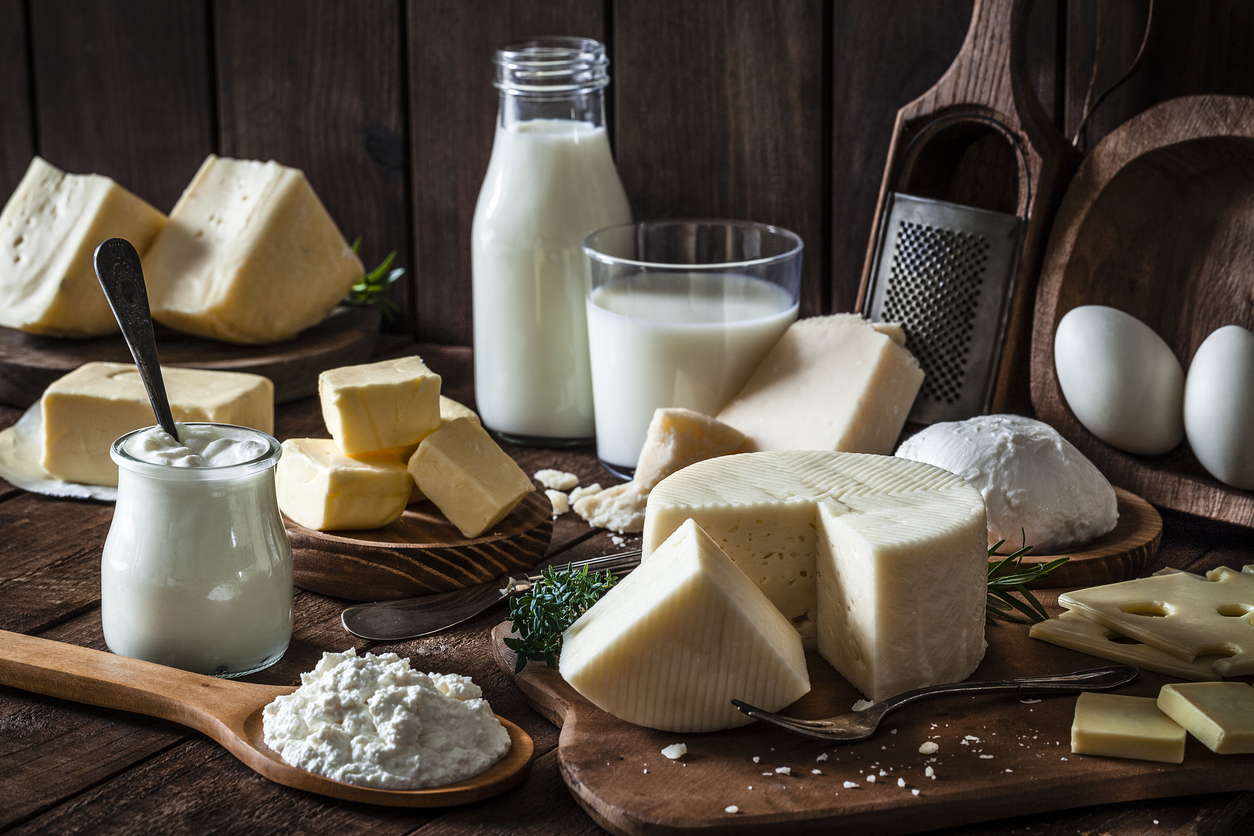 Dairy Products Shot On Rustic Wooden Table